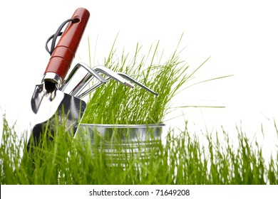 Garden tools with grass on white