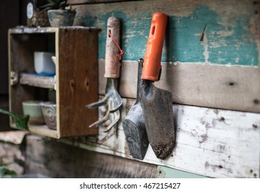Garden tools hanging on the wood wall