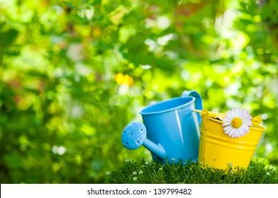 Garden tools on a garden grass