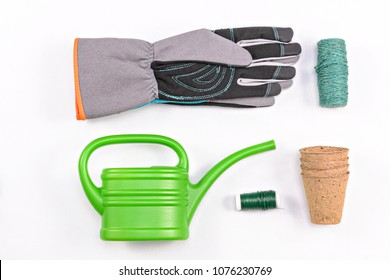Garden tools on isolated white background