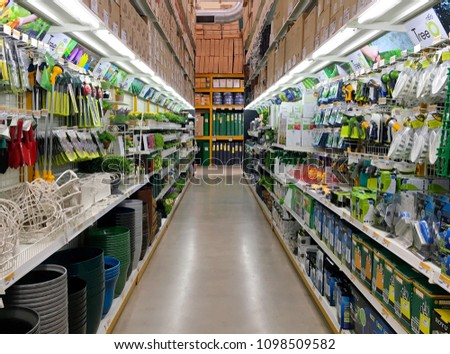 The Garden Tools Racks In Global House Hardware Store In Thailand Pranburi,  Thailand May 15
