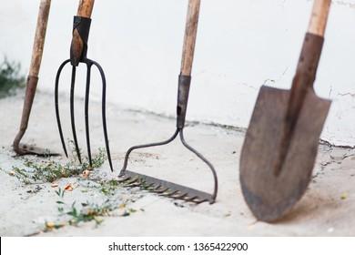 garden tools: shovel, rake, pitchfork. old gardening tools, rake, shovel, pitchfork, hoe on white background