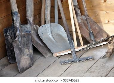 garden tools -  shovel, spade, rake