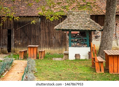 Garden of a traditional rural house in Hungary
