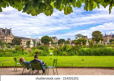 Garden of Tuileries (Jardin des Tuileries) outside the Louvre in Paris, France