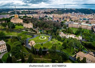 Garden in Vatican in Rome in Italy