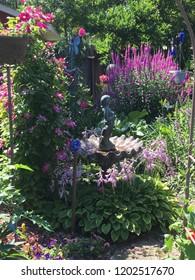 garden view of a quaint birdbath
