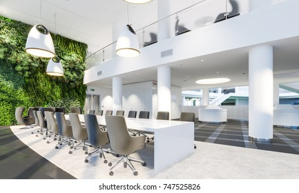 Garden wall in office interior. Green wall in interior. Modern meeting room. Plants on wall. Meeting office. 3d illustration.