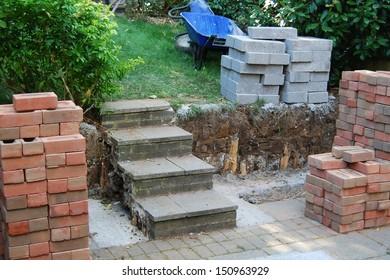 Garden wall under construction