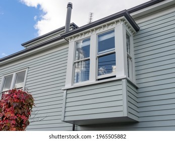 Garden window on timber weatherboard wall