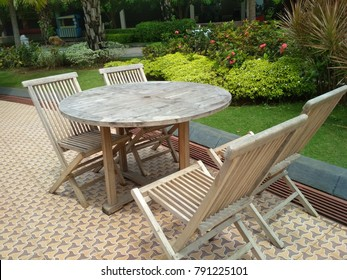 Garden Wood chair in the restaurant on nature background with copy space
