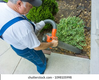 Garden worker vacuuming up dead leaves in a flowerbed alongside a cement pathway carefully working around leafy shrubs in an over the shoulder view