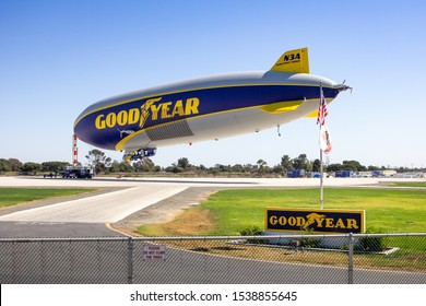 Gardena, California/United States - 10/11/2019: The Goodyear Blimp at the Goodyear Blimp Base Airport