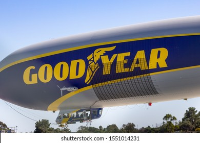 Gardena, California/United States - 10/11/2019: A view of the Goodyear Tires blimp at the airbase.