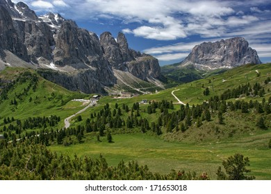 Gardena Pass, high mountain pass in South Tyrol in Italy