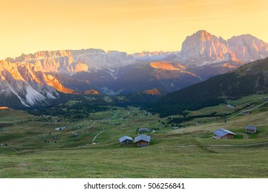 Gardena valley, wonderful Seceda peak the Odle mountain range in the Dolomites at sunset in Italy