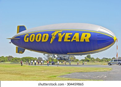 """GARDENA/CALIFORNIA - AUG 8, 2015: Docked Goodyear Blimp """"Spirit of America"""". Open to the public before it becomes decommissioned on Monday Aug. 10, 2015 in Gardena, California, USA"""