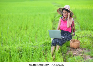 Gardener girl in green rice field. Beautiful woman work in rice field with smartphone and laptop,Business and technology concep.