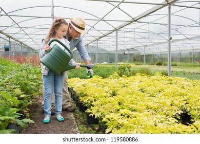 Gardener helping granddaughte watering plants in greenhouse