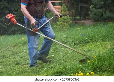 Gardener mowing grass by brushcutter in garden. Man cutting grass using gasoline brush cutter.
