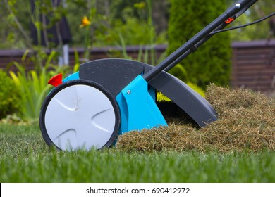 Gardener Operating Soil Aeration Machine on Grass Lawn.