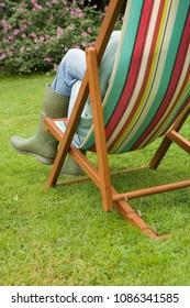 Gardener relaxing in a deckchair