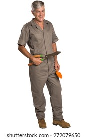 A gardener with tools, isolated on white
