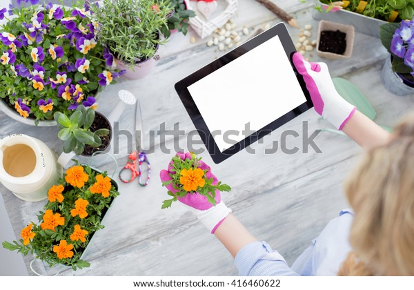 Gardener using tablet to learn new techniques