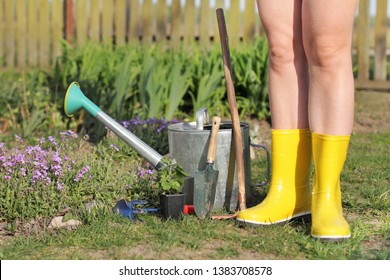 gardener in yellow boots and garden tools near the flowerbed in the garden. spring planting flower seedlings
