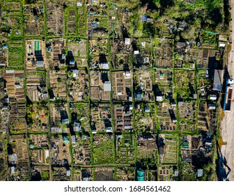 Gardening allotment aerial landscape view