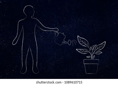 gardening hobby conceptual illustration: man with watering can taking care of a plant