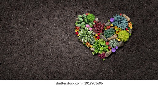 Gardening hobby and garden love landscaping design shaped as a heart with a flowerbed and ornamental plants in a decorative landscaped horticulture symbol for outdoor lifestyle with copy space.
