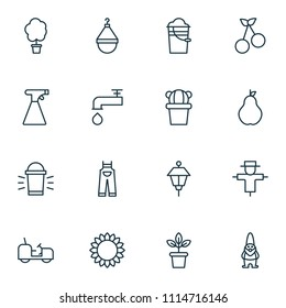 Gardening icons set with pail, scale, tractor and other spigot elements. Isolated  illustration gardening icons.