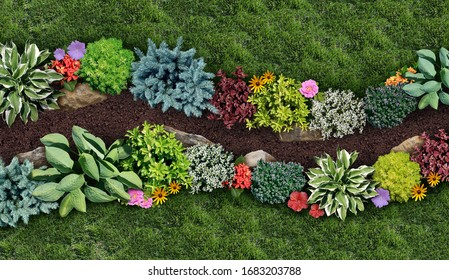 Gardening landscape and landscaping design as a perennial garden lawn with a flowerbed and ornamental plants in a decorative landscaped pathway as a horticulture symbol for outdoor lifestyle.