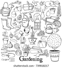 Gardening line icon Drawing doodle set