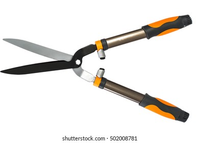 Gardening Scissors Isolated on White Background. Tool for Trimming Bushes and Trees