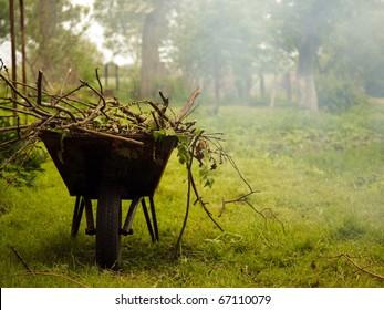 Gardening season - green lawn with wheelbarrow