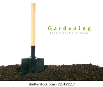Gardening. A shovel in the earth.