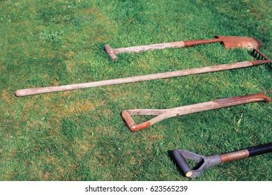 gardening tool on meadow garden.