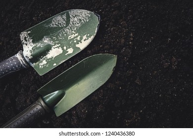 gardening tool on soil texture background