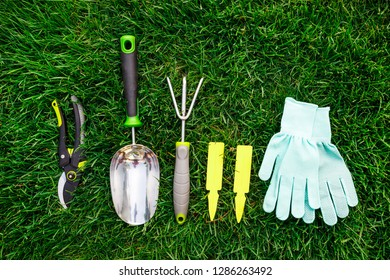 Gardening tools and equipment close up on the green grass, garden maintenance and hobby concept
