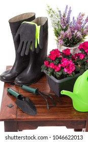 Gardening tools and flowers such as watering can, rubber boots, vases, pots, gloves isolated on white background