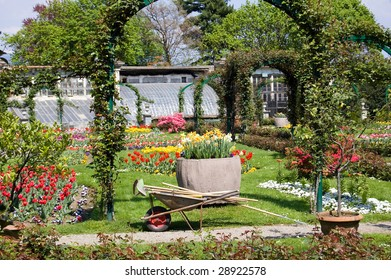 gardening tools in a marvellous garden full of tulips near the Lago Maggiore, Italy