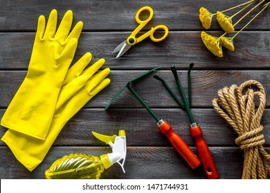 Gardening tools on white background top view pattern