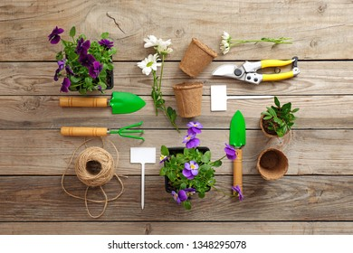 Gardening tools, shovel, secateurs, rake, nameplate, flowers, plants, rope, on vintage wooden table. Spring in the garden concept, top view, flat lay composition.
