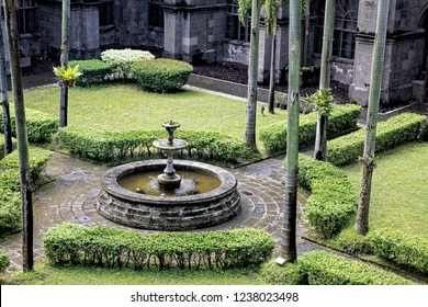 Gardens in the court yard of San Agustin Church is the oldest church in the Philippines, first built in 1571 and  destroyed many times by national disasters and war. Intramuros, Philipinnes