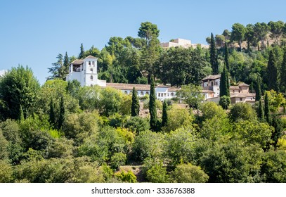 Gardens of Generalife Palace in Alhambra in ancient city of Granada in Andalucia, Spain, Europe