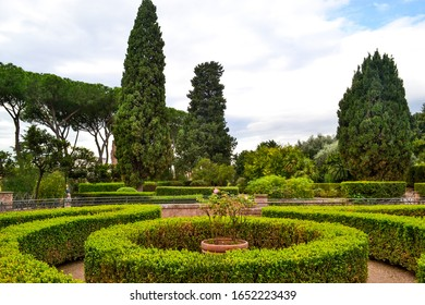 Gardens on Palatine hill in Rome, Italy.