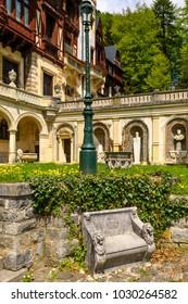 Gardens of the Peles Castle, a Neo-Renaissance castle in the Carpathian Mountains, Sinaia, Prahova County, Romania