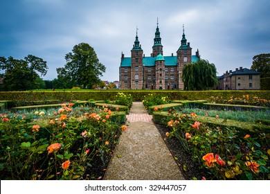 Gardens and Rosenborg Castle, in Copenhagen, Denmark.